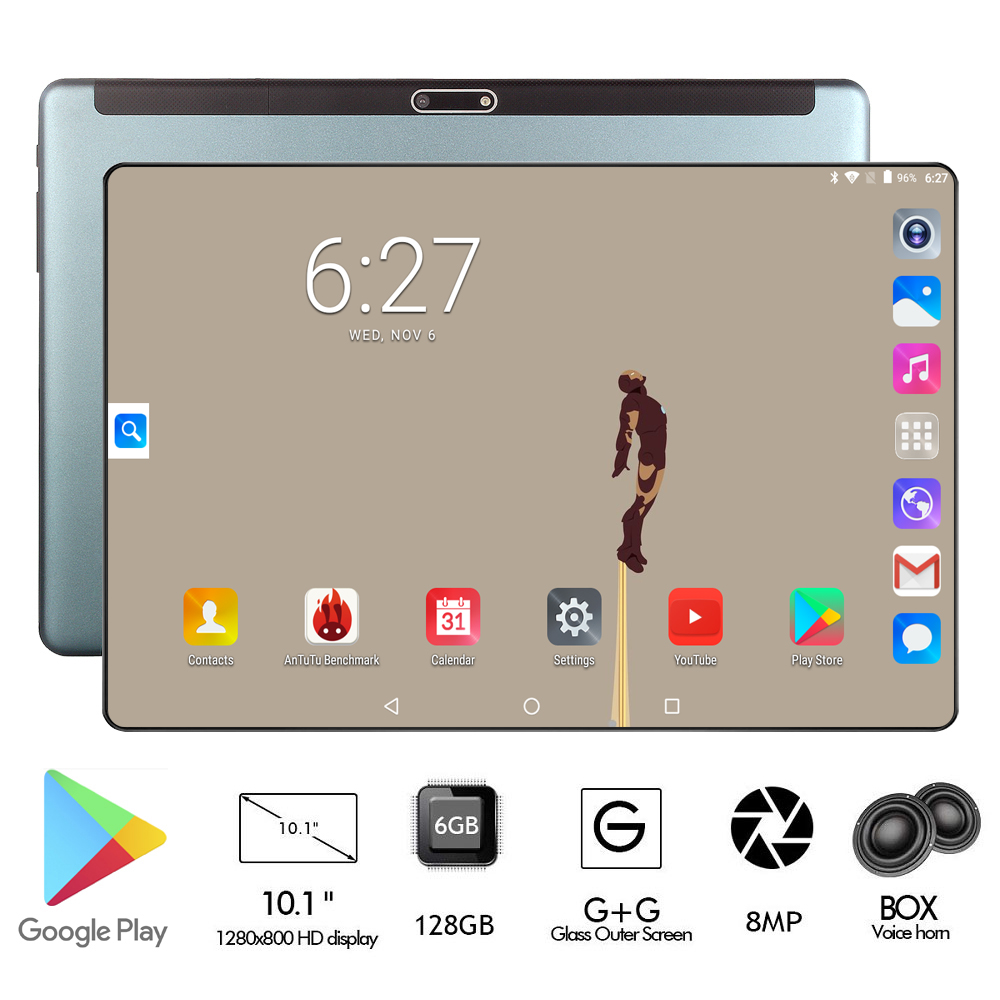 Global ROM 128GB RAM 6GB 10 Inch Tablet Octa Core 1280x800 IPS 8.0MP Android 9.0 OS 4G FDD LTE Wifi GPS Tablet 10 10.1