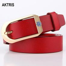 AKTRIS Hot Sale Ladies Genuine Leather Belt for Dresses Female High Waist Womens Pin Buckle Metal Belts Woman FCO073