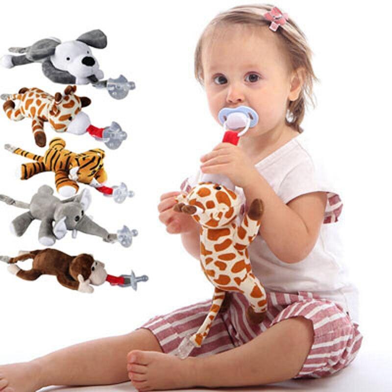 Пустышка для маленьких мальчиков и девочек, игрушки-пустышки с зажимом, соска с плюшевым держателем для соски (не в виде животного, цепочка