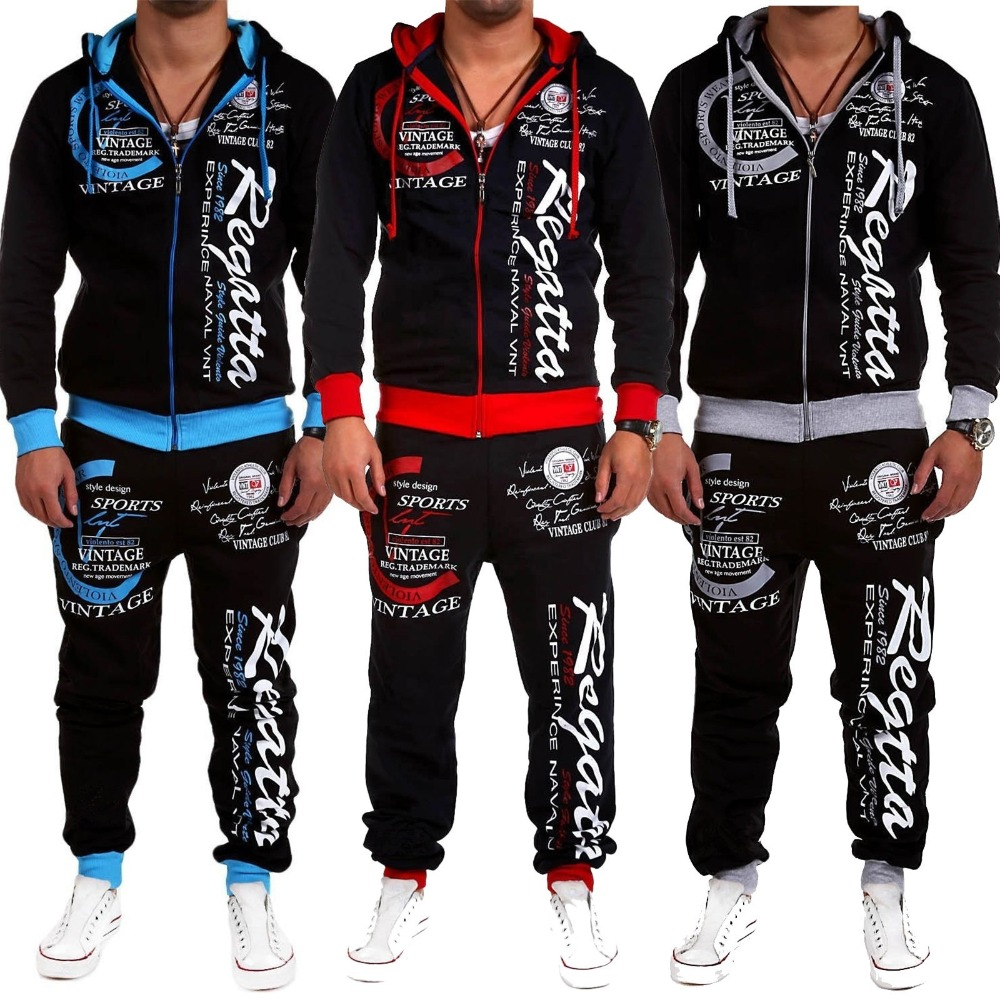 2019 New Brand Fashion Street Style Sports Suit Sports Jogging Hoodie Printing Men's Casual Sports Suit 3 Color Size S-3XL