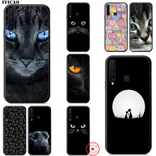 IYICAO Cute Cat Lovely Black Soft Case for Samsung Galaxy A9 A8 A7 J6 A6 Plus 2018 A3 A5 2016 2017 Silicone TPU(China)