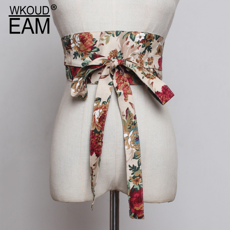 WKOUD EAM 2020 New Fashion Trendy Wide Belt For Women Casual Vintage Classical Flower Printed Ultra Cummerbunds Female ZK013