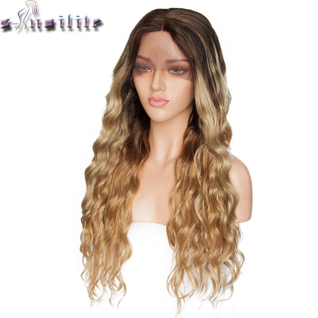 S noilite 28inch Long Ombre Lace Front Wig 4*0.6 deep lace synthetic lace front wig free parting body wave wig for black women
