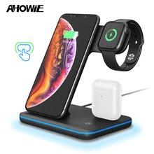 AHOWIE 3w1 Qi bezprzewodowa szybka ładowarka stojak dokujący 15W dla Apple Iphone Xs Max Xr 8 Plus stacja ładowania kabel ładowania indukcja