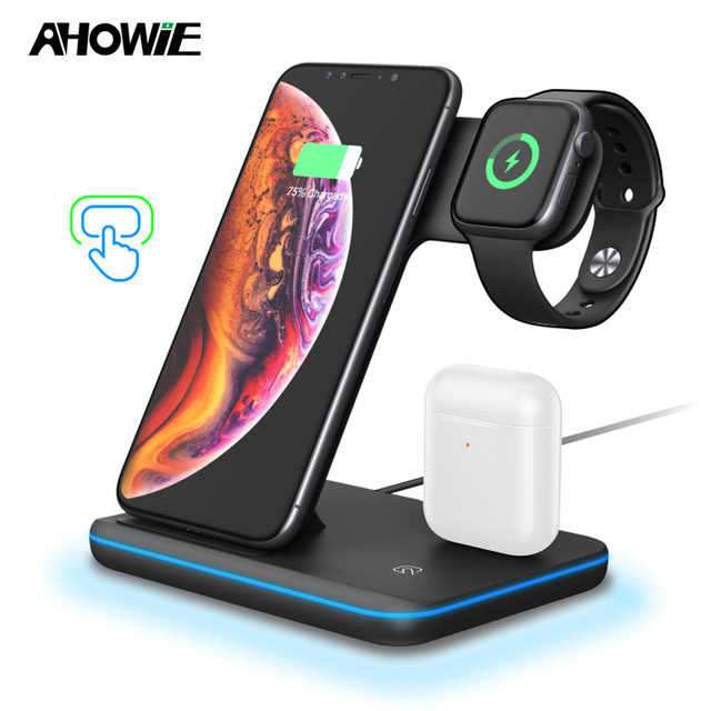 Ahowie 3in1 qi sem fio carregador rápido doca suporte 15 w para apple iphone xs max xr 8 mais estação de carregamento cabo indução chargeur