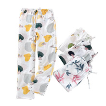 Pants Sleep-Bottom Cotton Women Cute Ladies Thin Comfort Cartoon Spring And Autumn Gauze