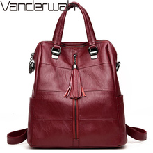 3-in-1 Women Leather Backpacks Classic Female Shoulder Bag S