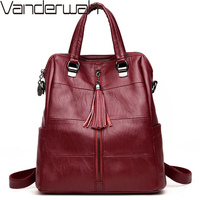 3 in 1 Women Leather Backpacks Classic Female Shoulder Bag Sac a Dos Travel Ladies Bagpack Mochilas School Bags For Girls Preppy
