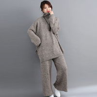 Fall Winter Knitted Tracksuit Turtleneck Sweatshirts For Women Suit Plus Size 2 Piece Set Knit Top Pants Suit Matching Co ord