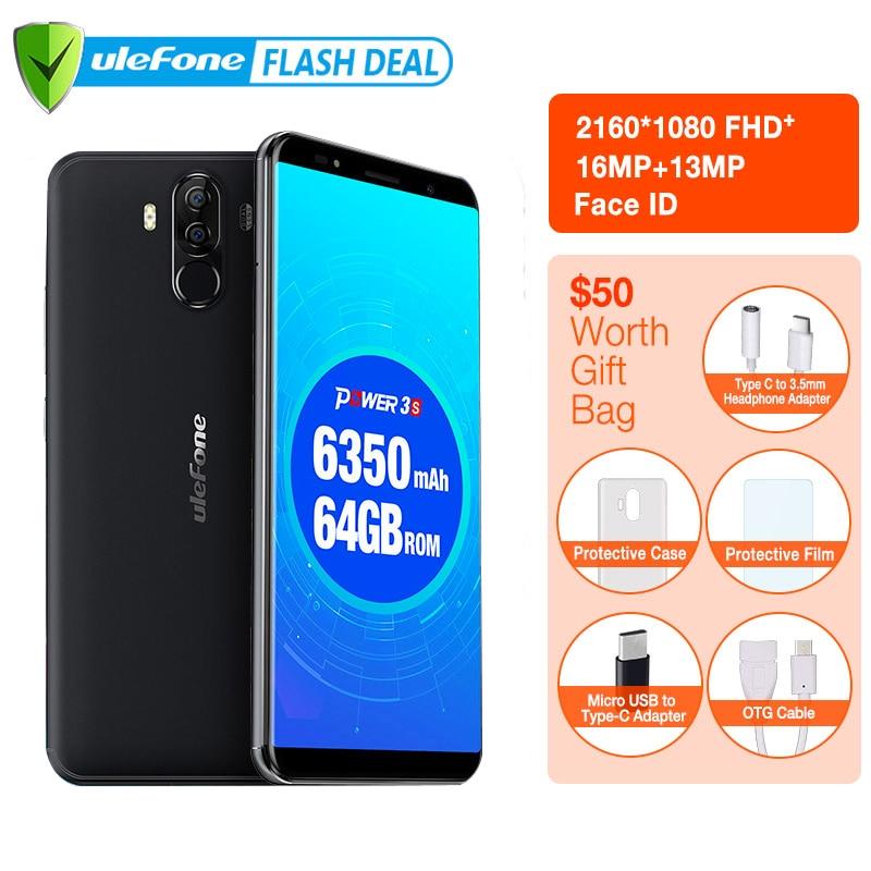 Ulefone Power 3S 6.0 18:9 FHD 4G Smartphone MTK6763 Octa Core Android 7.1 4GB + 64GB 16MP 4 caméra 6350mAh identification de visage d'empreintes digitales
