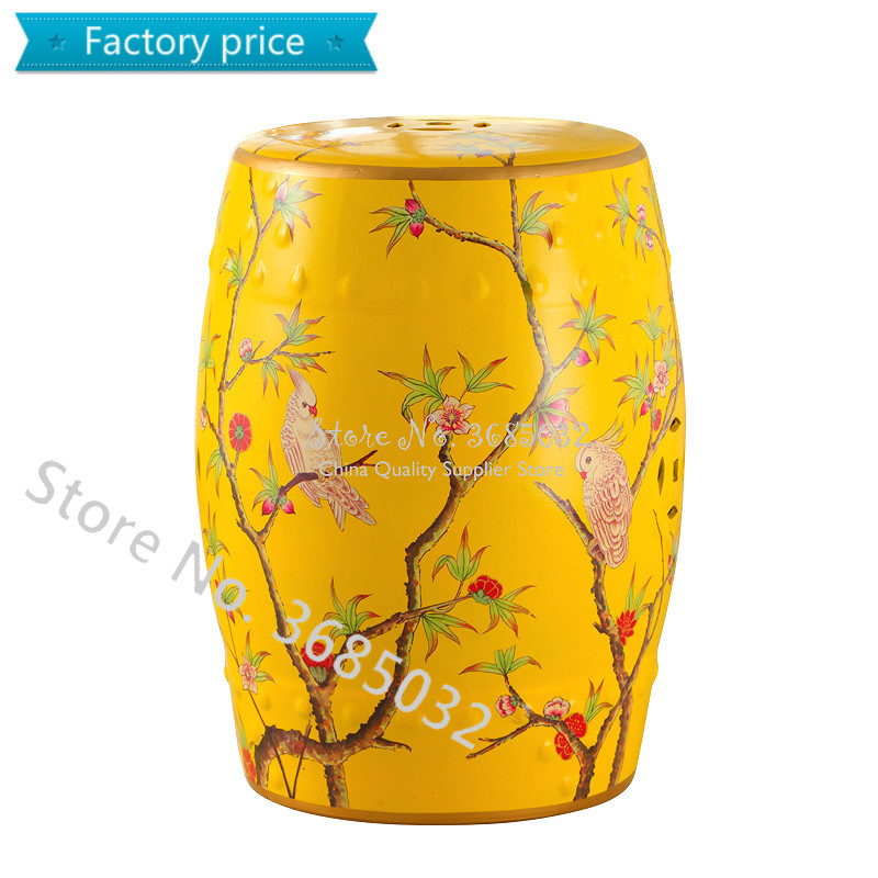 Chinese Drum Ceramic Stool Ottomans Bedroom Makeup Stool European Painted Shoe Bench Chinese Zither Performance Stools30*46cm