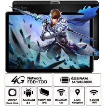 Perfect Voor Games/Video 'S Youtube 10 inch Android 8.1 Tablet PC 10 Core 6GB RAM 128GB ROM 2.5D Gehard Glas Tablet 10 10.1 + Gift(China)