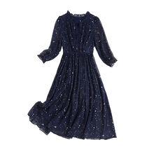 Женские платья 2020 Осенние повседневные с оборками на воротнике