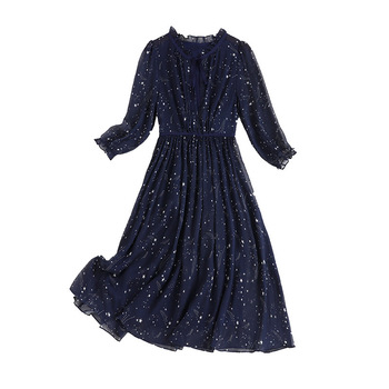 Dresses for Women 2020 Autumn Casual Ruffled Collar Half Sleeve Elastic Waist Star Print Plus Size 4xl 5xl
