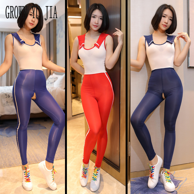 Erotic Cosplay Sexy Costume Porno School Uniform Spandex Bodysuit Zipper Crotch Sex Student Uniform Sex Naughty Lingerie Catsuit