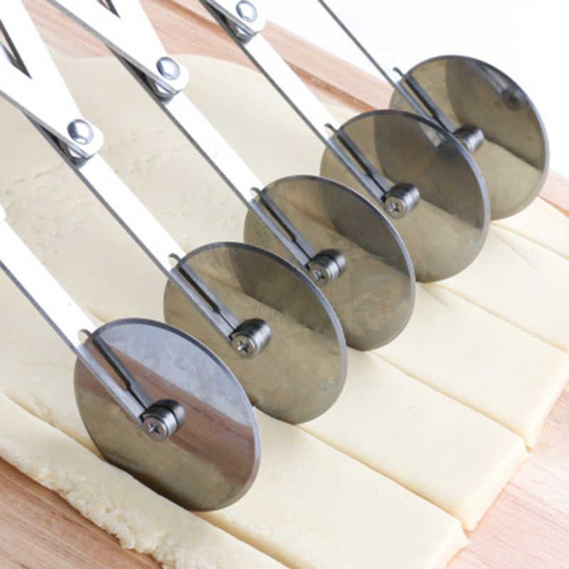 1pc de aço inoxidável massa divisor cortador lado macarrão faca flexível rolo lâmina 5/7/3 rodas pizza pastelaria descascador assar ferramenta