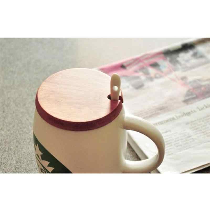 6pcs במבוק כוס מכסים טבעי ספל מכסה בסדר מלוטש לשתות מכסי כוס קרמיקה כוס כיסוי לנשים גברים