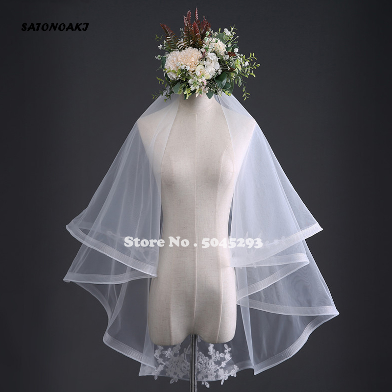 New Arrival Ivory White Two Layers Bridal Veil 2019 Lace Appliques Wedding Veil Cheap Wedding Accessories Voile De Mariee