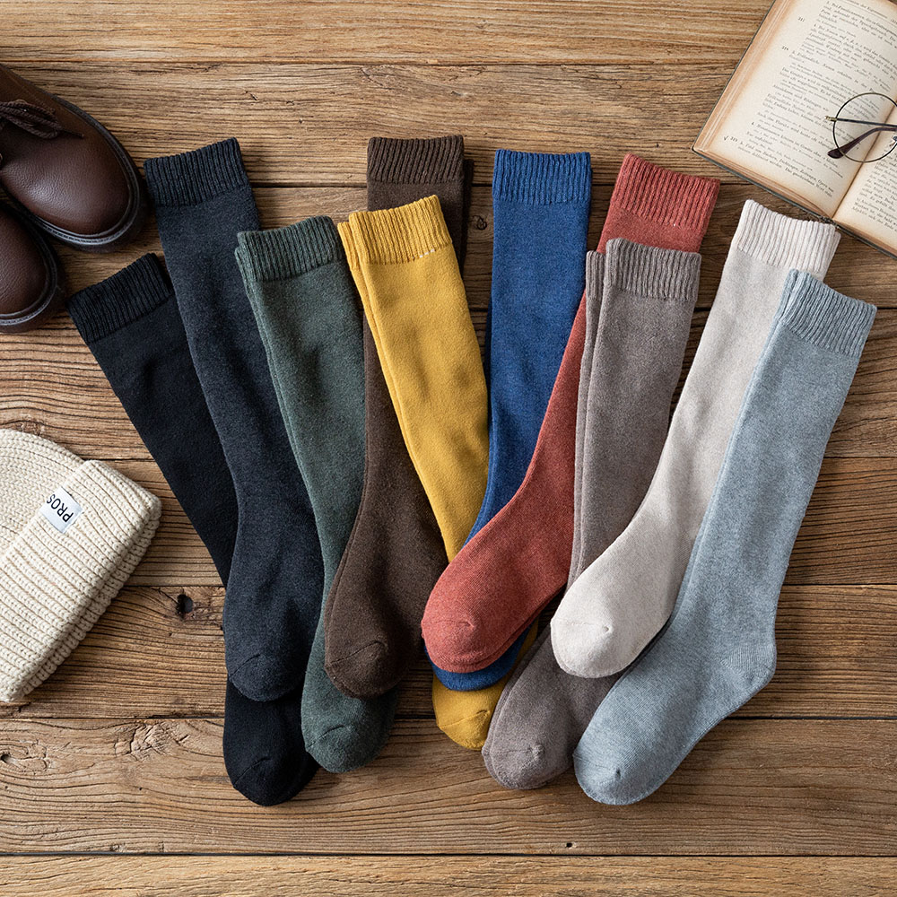 Winter New Women's Thick Warm Long Cotton Socks High Quality Solid Color Harajuku Vintage Color Wool Socks 3 Pair