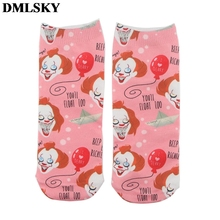 DMLSKY Stephen Kings It Funny Socks Women Men Fashion 3D Printed Cotton Cartoon Novelty M3824