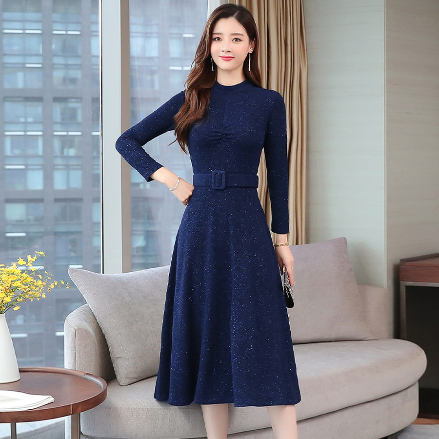 2019 Vintage Blue Long Sleeve Midi Dresses Autumn Winter 2XL Plus Size Solid Women Bodycon Dress Elegant Party Femal Vestidos 68