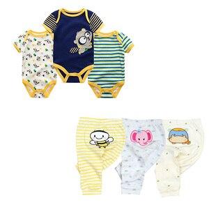 Image 4 - cute Bodysuits+Pants Baby Boy Girl Clothing Sets 0 12M Baby Boy Girl Clothes Unisex Newborn Baby Cotton Roupa de bebe