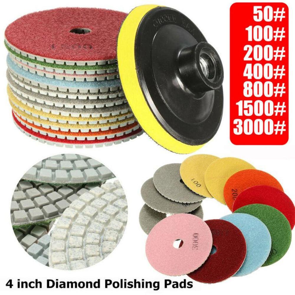 12Pcs Polishing Pads Wet/Dry Grinding Granite 4 Inch Diamond Tools Set