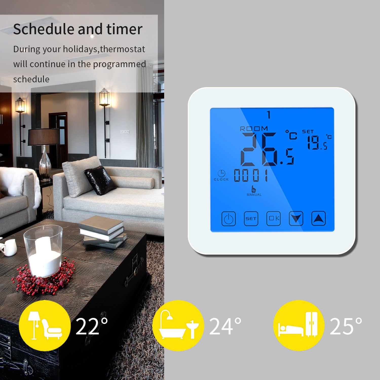 WiFi Touchscreen Programmierbare Heizung Thermostat Raum Temperatur  Controller Digitale Elektrische Temperaturregler Kid Lock Weiß