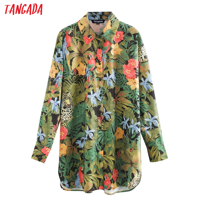 Tangada Women Oversized Animal Floral Print Blouse Long Sleeve Chic Female Casual Loose Shirt Tops XN483