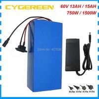 750 w 60 v 13ah bateria de lítio 1500 w 60 v 15ah bicicleta elétrica bateria 18650 célula 15a/30a bms com carregador 2a