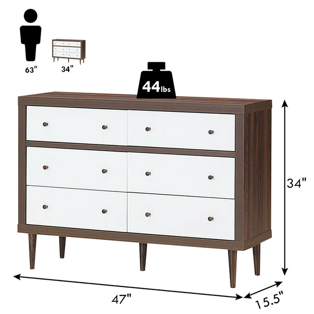 6 Drawer Wooden Chest of Drawers  5