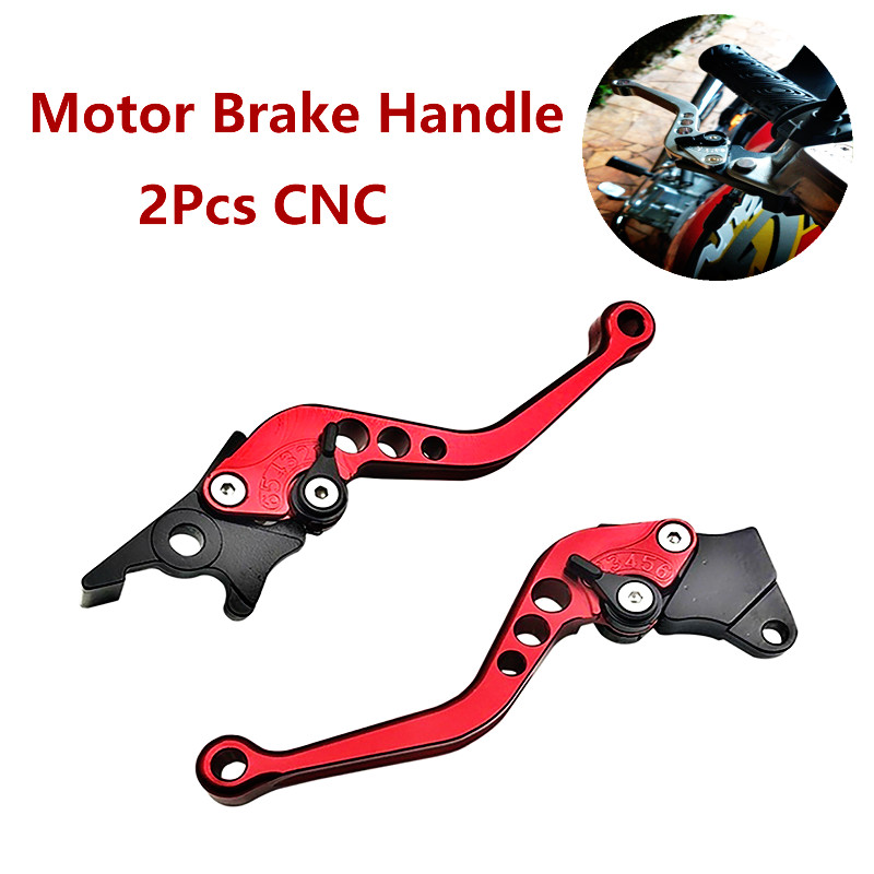 Red Modified Pair CNC Adjustable GY6 Brake Lever Disc//Drum Hand Brake-horns