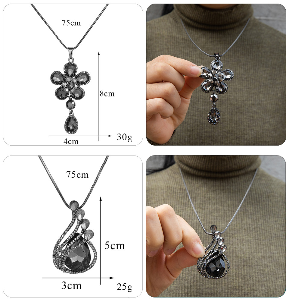 Simple Sweater Coat Necklaces Ladies Girls Long Black Leaf Natural Peacock Feather Crystal Pendant Necklaces for Women Jewelry  (125)