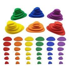 Crianças montessori classificando cor empilhamento pedras brinquedos arco-íris seixos bebê aprendizagem contagem sensorial brinquedos educativos para crianças