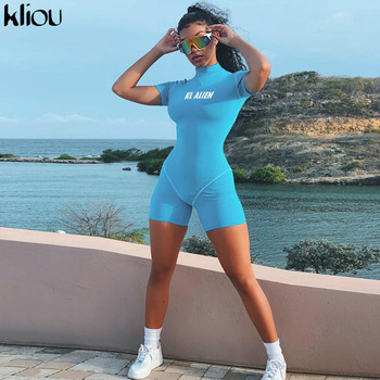 Kliou women skinny bodysuit short sleeve playsuit Reflective letter print rompers 2019 female turtleneck fashion casual bodysuit