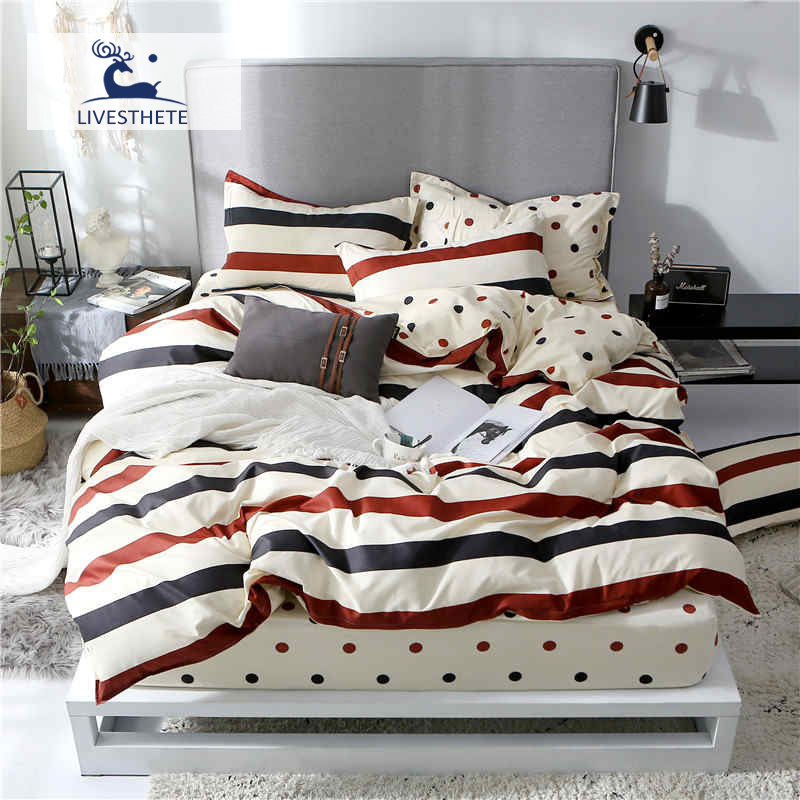 Liv Esthete Fashion Color Striped Bedding Set High Quality Printed Duvet Cover Pillowcase Bed Linen Flat Sheet Or Fitted Sheet in Bedding Sets from Home Garden
