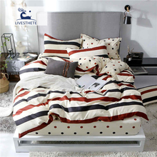 Liv-Esthete Fashion Color Striped Bedding Set High Quality Printed Duvet Cover Pillowcase Bed Linen Flat Sheet Or Fitted