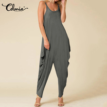 Women Sleeveless Jumpsuits Celmia 2020 Summer Sexy Spaghetti Strap Knitted Rompe