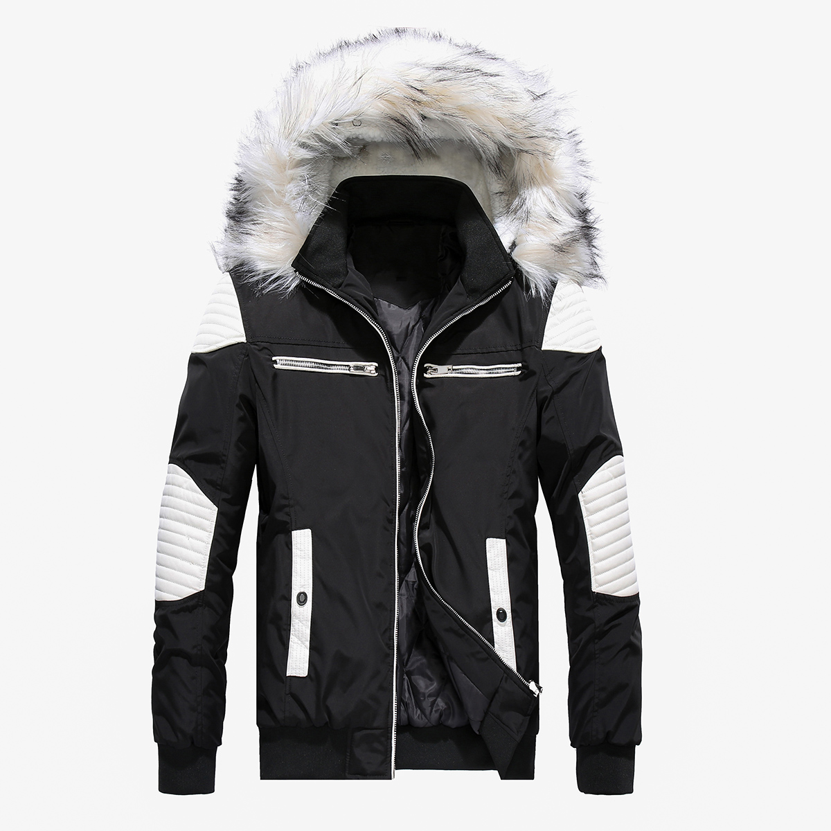 PUIMENTIUA Mens Winter Cotton Clothing Warm Fashion Cotton Stitching Jacket Large Size Fur Collar Hooded Jacket