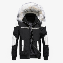 PUIMENTIUA Mens Winter Parker Cotton Clothing Warm Fashion Stitching Jacket Large Size Fur Collar Hooded
