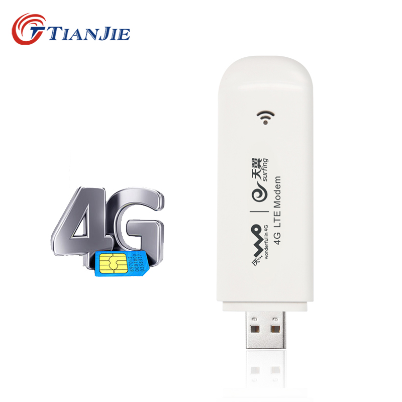 TIANJIE 4G Modem USB Dongle Mobile 100 Mbps Network Adapter Cat 3 Broadband Unlocked Universal Wireless With SIM