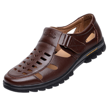 shoes men business mens European and American style casual leather sandals designer most trend Genuine