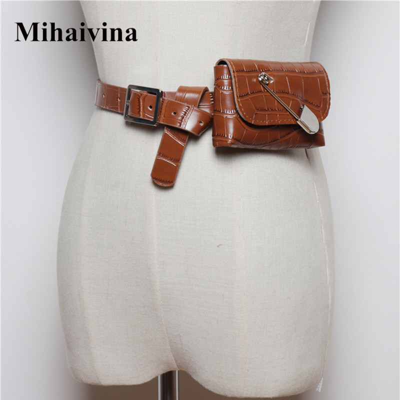 Mihaivina Fashion Leather Belt Bag Women Phone Pouch Fanny Pack Luxury PU Leather Female Waist Pack Heuptas Pochete Сумка на поя