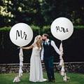 2 шт./лот  круглые белые латексные воздушные шары хорошего качества с принтом Mrs & Mrs  на свадьбу  День святого Валентина