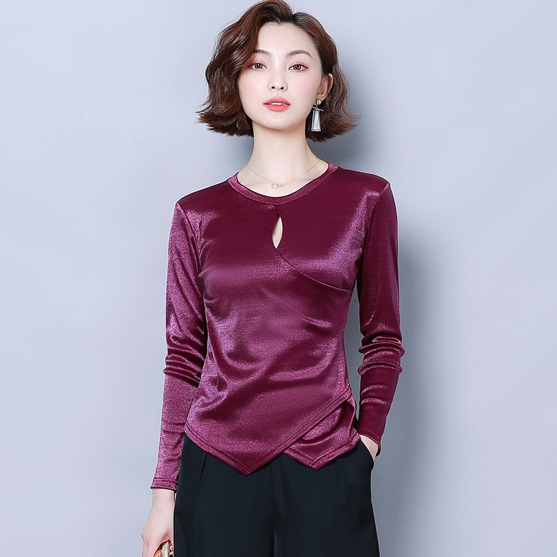 Korean Silk Blouses Women Satin Blouse Shirt Plus Size Woman Solid Long Sleeve Blouse Hollow Out Tops Blusas Mujer De Moda 2020