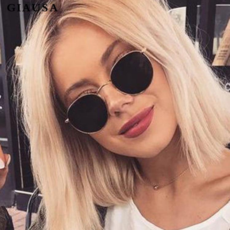 GIAUSA New Fashion Brand Designer Classic Small Frame Round Sunglasses Women/Men Alloy Mirror Sun Glasses Vintage UV400