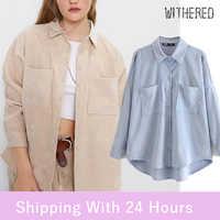 Blusa holgada vintage preppy de gran tamaño de estilo inglés de pana para mujer de talla grande 2020