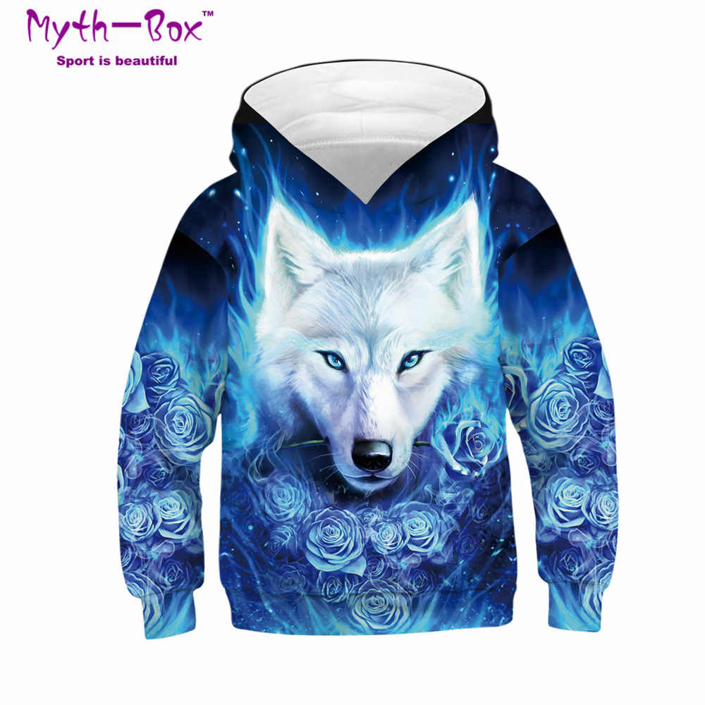 Autumn Children's Hoodies Flowers Wolf 3D Print Kids Sweatshirts Junior Child Tops Teens Pullover 5-14y Boy&Girl Hooded Sweaters