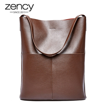 Zency 100% Genuine Leather Fashion Coffee Women Shoulder Bag High Quality Tote Handbag Daily Casual Shopping Bags For Lady Black