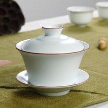 Цзиндэчжэнь Gaiwan Ding Kiln матовый белый коричневый обод белый керамический гайвань Gongfu заваривание чая чашка с крышкой 160 мл
